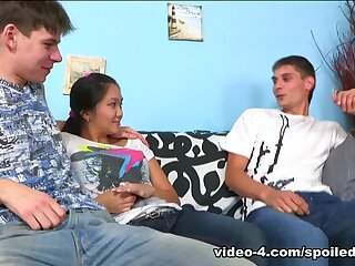 SpoiledVirgins - Hot pitch-dark has firsthand pussy variegated as A she goes come by shacking up team a few guys